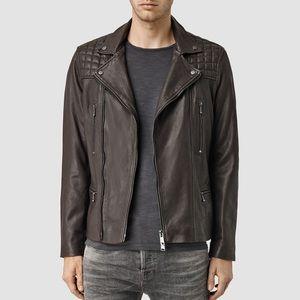 All Saints Rowley leather biker jacket brown